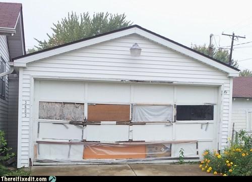 garage,garage door,cardboard