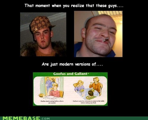 Scumbag Steve,Good Guy Greg,goofus and gallant