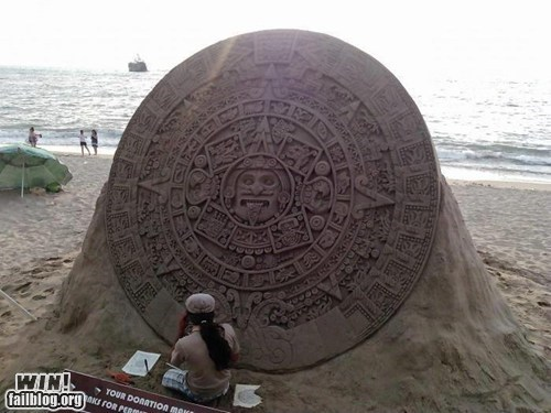 art,mayan calendar,sand sculpture