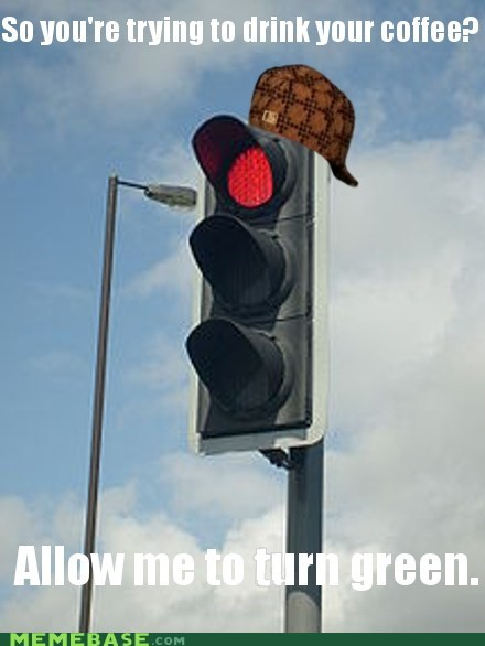 commuting,scumbag hat,driving,traffic lights,coffee