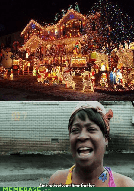 aint-nobody-got-time,jingle memes,christmas lights