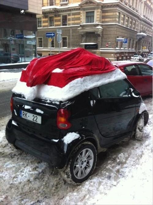 smart car,santa hat