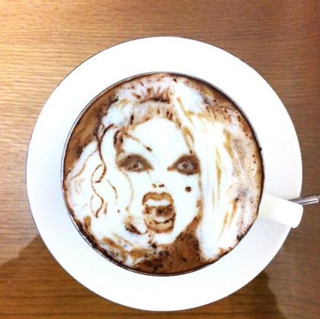 foam coffee lady gaga latte art - 6906954240