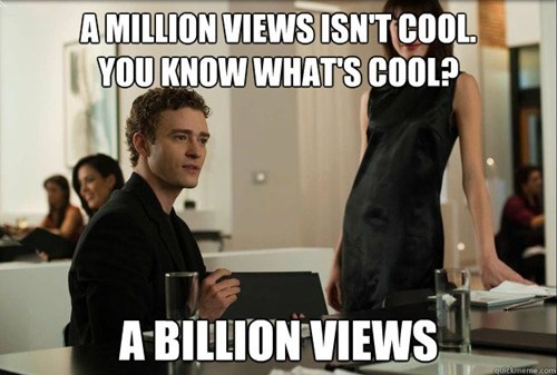 youtube,billion,the social network,gangnam style,Justin Timberlake,views