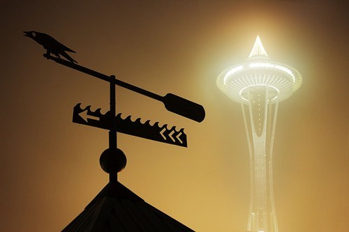 seattle,cityscape,fog