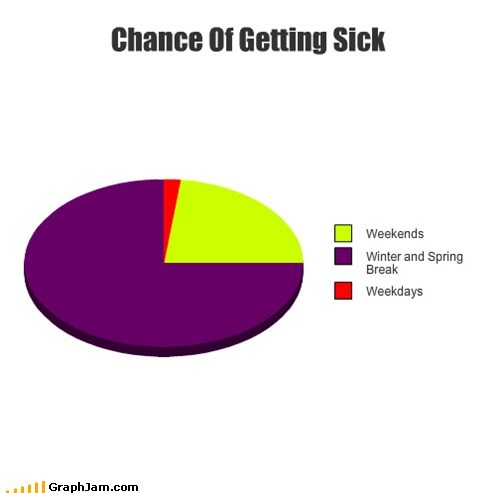 school weekends illness breaks Pie Chart