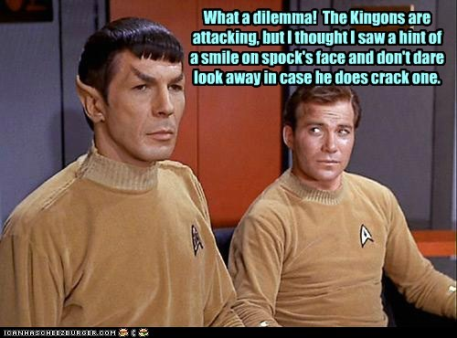 Captain Kirk klingons dilemma Spock Leonard Nimoy Star Trek William Shatner smile - 6910026496