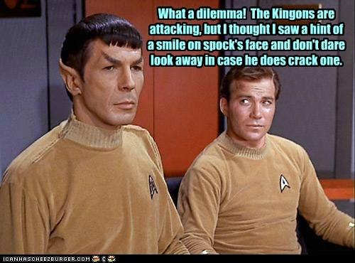 Captain Kirk klingons dilemma Spock Leonard Nimoy Star Trek William Shatner smile