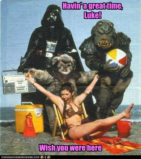 wish you were here star wars beach carrie fisher Princess Leia darth vader vacation - 6910039040
