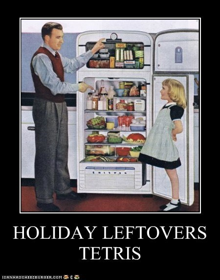 leftovers,refrigerator,food,fridge,tetris,holidays