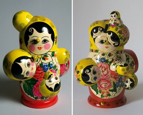 Chernobyl-Themed Russian Matryoshka Doll deformed by all that radiation