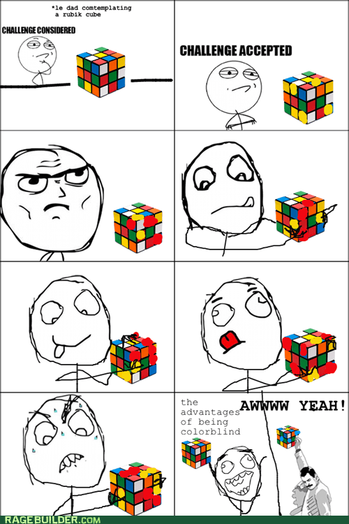 freddie mercury,rubix cube,so close,Challenge Accepted,awww yeah,rubiks cube,colorblind