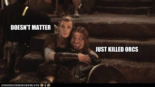 sean bean orlando bloom doesnt matter orcs cuddling happy - 6912528640