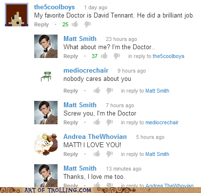 youtube David Tennant youtube comments Matt Smith doctor who