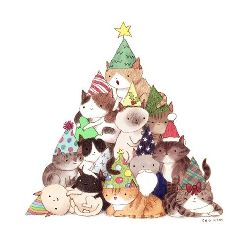 christmas illustration tree Cats funny holidays - 6914947584
