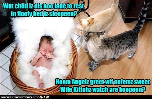 Wut child iz dis hoo lade to rest in floofy bed iz sleepeen? Hoom Angelz greet wif anfemz sweet Wile Kittehz watch are keepeen?