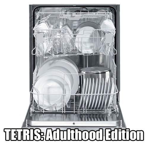 dishwasher,adulthood,tetris