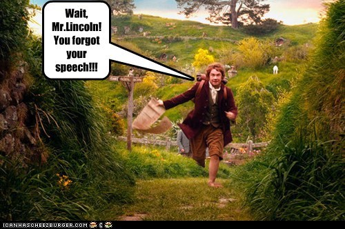 abraham lincoln Martin Freeman Bilbo Baggins speech The Hobbit forgot - 6916733184