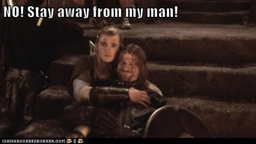 legolas Lord of the Rings sean bean orlando bloom hugging protecting Boromir - 6916827904