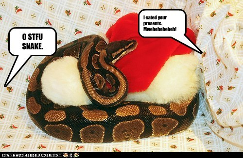 I eated your presents. Mweheheheheh! O STFU SNAKE.