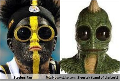 steelers Sleestak glasses TLL fan football face paint monster Land of the Lost
