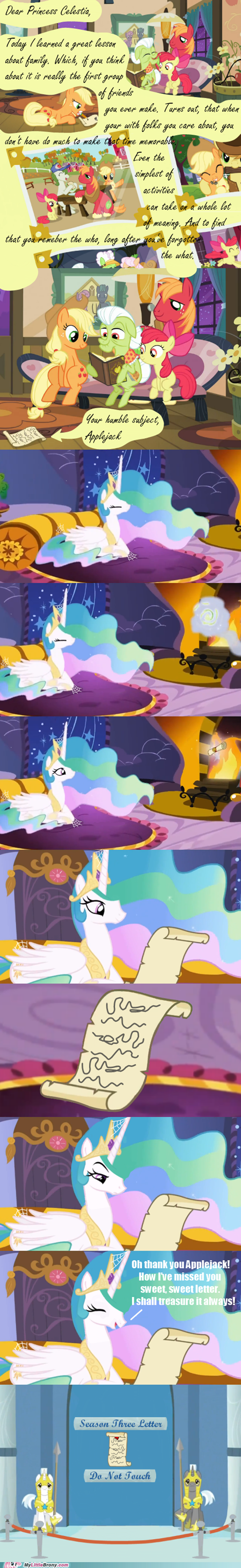 applejack,bolt of stone,comics,letter to celestia,princess celestia