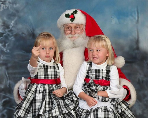 middle fingers,santa photos