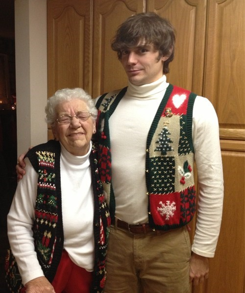 grandson matching sweaters,grandma,christmas sweaters,poorly dressed,g rated