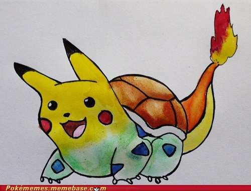 art,starters,charmander,squirtle,pikachu,bulbasaur