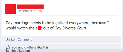 divorce court,gay divorce court,gay marriage,failbook