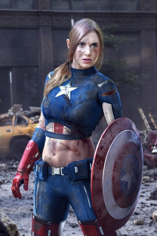 Sexy Ladies costume captain america rule 63 - 6923200512