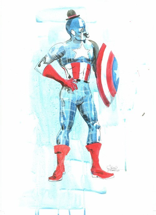 gentleman art old timey captain america