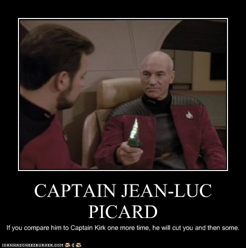 Captain Kirk cut you william riker Captain Picard knife Jonathan Frakes compare Star Trek threat patrick stewart