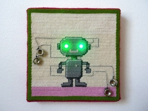 needlepoint,lights,robot,LED,DIY,craft
