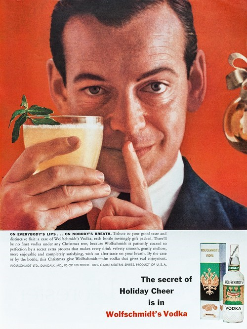 christmas drinking Ad secret booze vodka holidays