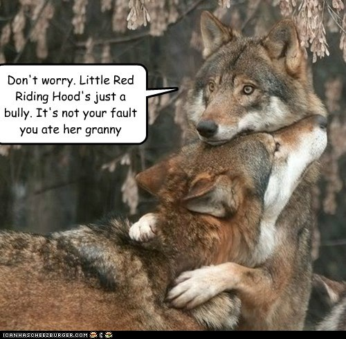 Sad wolves bully hugging Little Red Riding Hood comforting