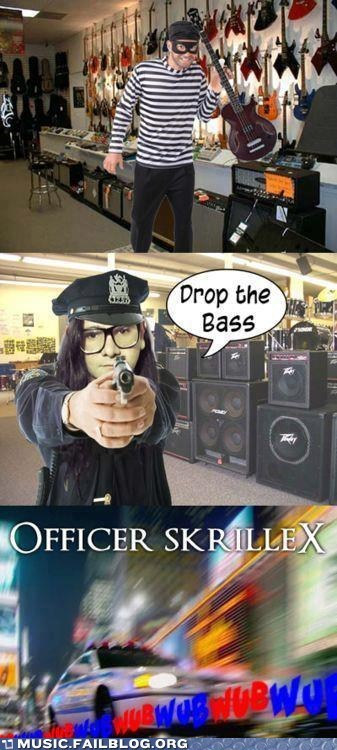 skrillex,dubstep,bass,police,Music FAILS,g rated
