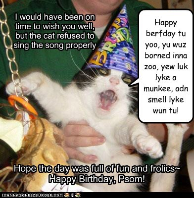 Happy berfday tu yoo, yu wuz borned inna zoo, yew luk lyke a munkee, adn smell lyke wun tu! I would have been on time to wish you well, but the cat refused to sing the song properly Hope the day was full of fun and frolics~ Happy Birthday, Psom!
