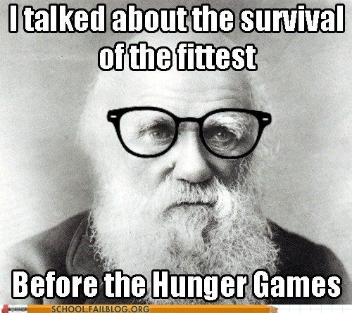 survival of the fittest Darwin hunger games biology