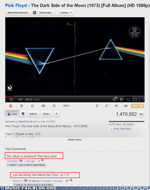 Dark Side of the Moon pink floyd youtube comments - 6925481472