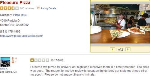 bad review,pleasure pizza,yelp