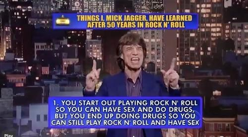 drugs,mick jagger,top 10,David Letterman,rock and roll
