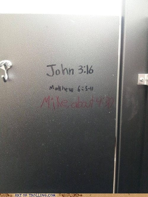 john-316,bible,bathroom stall,writing