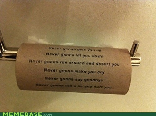 IRL rick roll toilet paper - 6925767936