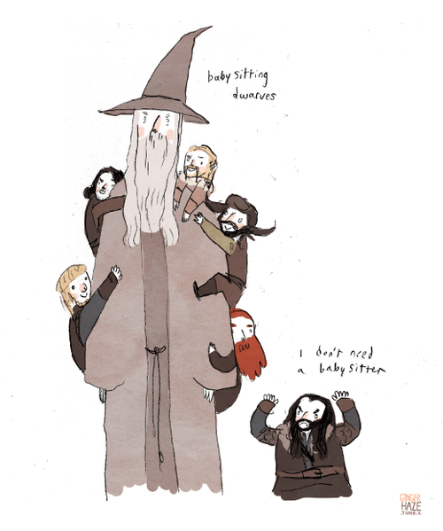 climbing dwarves gandalf babysitting comic thorin oakenshield