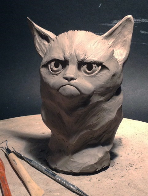 art,sculpture,Memes,Grumpy Cat,bust