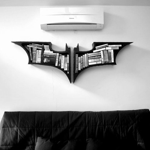 bookshelf nerdgasm superheroes batman