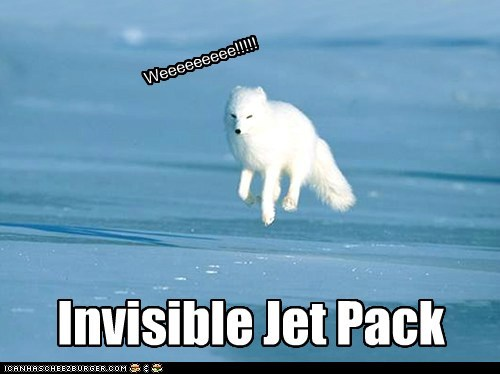 wolves snow invisible jet pack weeee flying