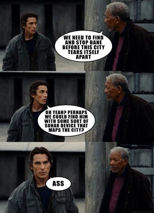the dark knight rises,Movie,actor,comic,christian bale,Morgan Freeman,funny