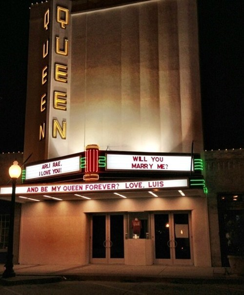 movie theater,proposal,marquee